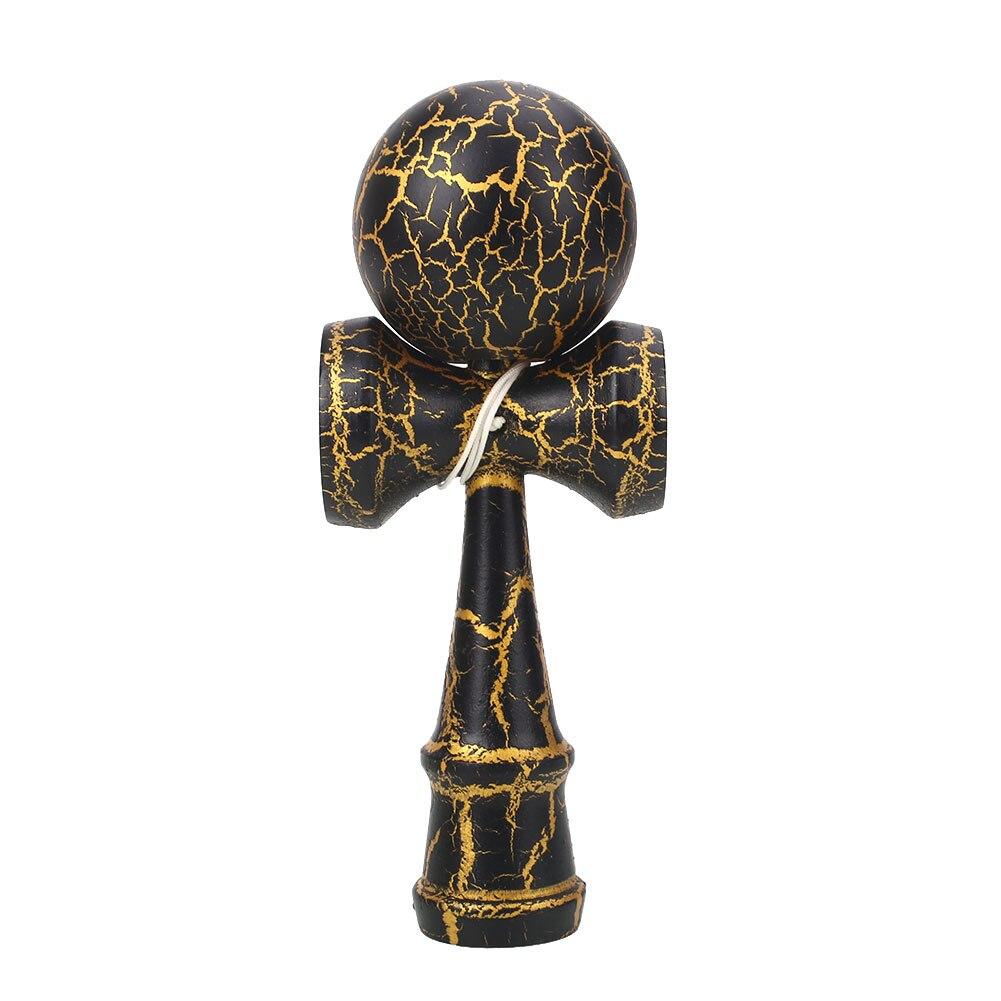 60 мм деревянный шар Kendama Skill Toy Matte Hand-Eye Coordination Lightning красочный привлекательный стержень и мяч детские игрушки мяч - Цвет: Black gold