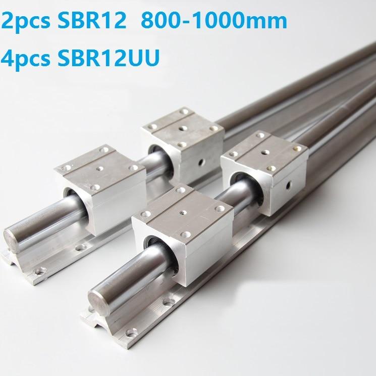 2pcs SBR12 800mm/900mm/1000mm support linear guide rail + 4pcs SBR12UU linear bearing slide blocks CNC router parts2pcs SBR12 800mm/900mm/1000mm support linear guide rail + 4pcs SBR12UU linear bearing slide blocks CNC router parts
