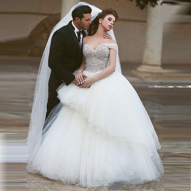 df5c39b470de Cristallo di lusso di Perle Corsetto Dell abito di Sfera Abiti Da Sposa  2017 Ha