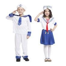 Umorden Halloween Sailor Costume for Boy Girl Navy Uniform Cosplay Kids Child Carnival Christmas Party Dress Up