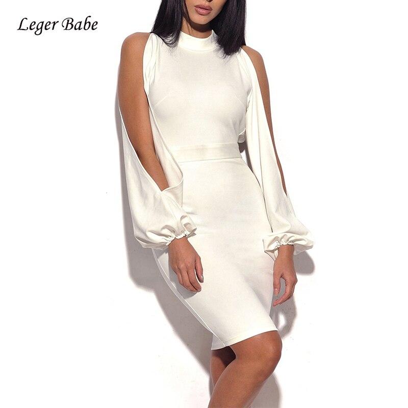 Leger Babe Winter Bandage Dress Elegant White Backless Bodycon Dress  Lantern Sleeve Off Shoulder Vestido Celebrity ... 370551a6e