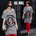 2015Summer Fashion Women Short Sleeve Mesh Hollow Out Zebra Print stripe loose long t shirt O neck casual female tops tees xxxxl