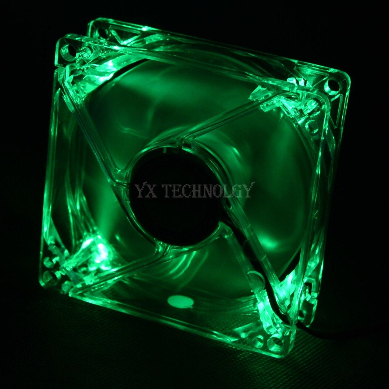 SZYTF 8025 GDT vert rouge bleu quatre couleurs LED PC coque d'ordinateur ventilateur de refroidissement sans brosse 80mm 8080x25mm 8025S DC 12V 4Pin refroidisseur
