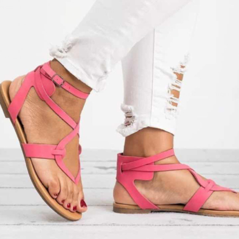 6f0787dde 43 Black Strap Fashion Summer Ankle gold Shoes Roma Buckle Gladiator Open  green Cross Tied Size Women pink Sandals 35 Toe Big brown Beach Casual Flat  RHwRxA