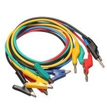 HUAHAO 1 Unidades 5 Unids Amarillo/Azul/Negro/Rojo/Verde 1 M 4mm Silicona Plátano Plug a Crocodile Alligator Clip Sonda de Prueba de Plomo Cable de Alambre