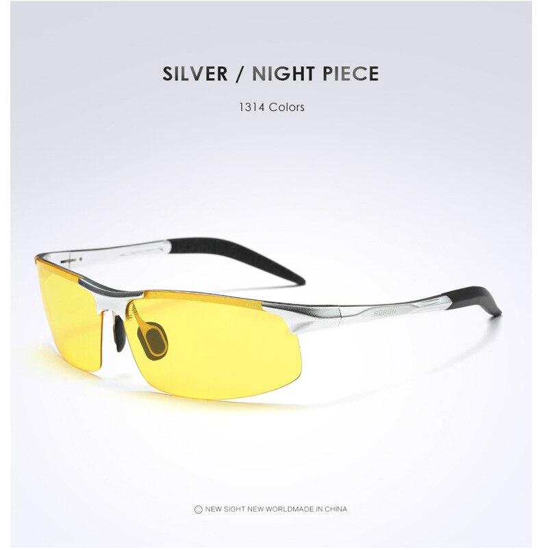 AORON Driving Polaroid Sun Glasses Aluminum Frame Sports Sunglasses Men Polarized Driver Retro UV400 Anti-glare Goggles 12