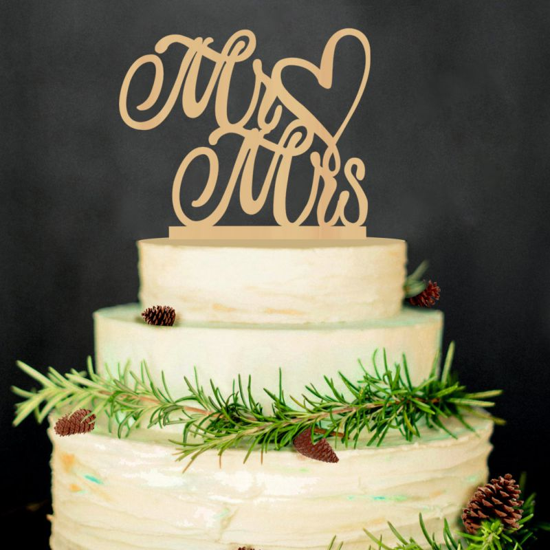 Hot Sale Cake Insert Decoration Rustic Wedding Cake Topper Laser Cut