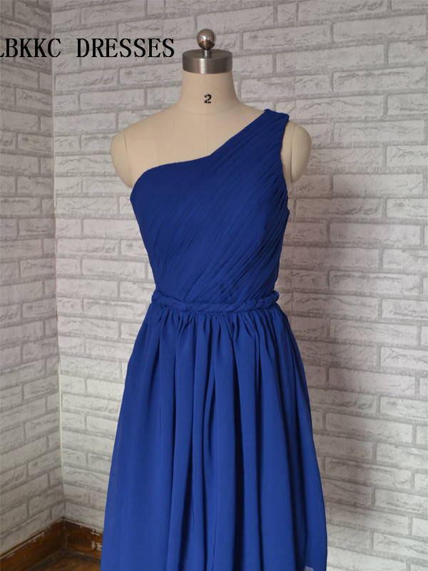 One Shouder Sleevless Blue Cocktail Dresses Knee Length Robe De Cocktail Longueur Genou Short Part Gown