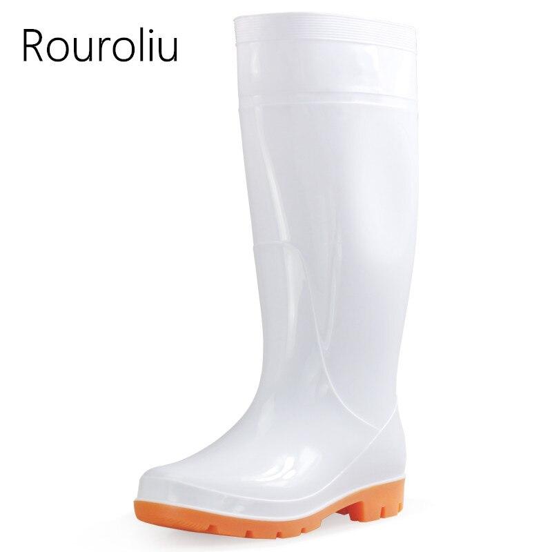 a64e19682 Купить Rouroliu Для мужчин до колена Рабочие резиновые сапоги  противоскользящие Кухня резиновые сапоги Водонепроницаемые туфли резиновые  сапоги плю.
