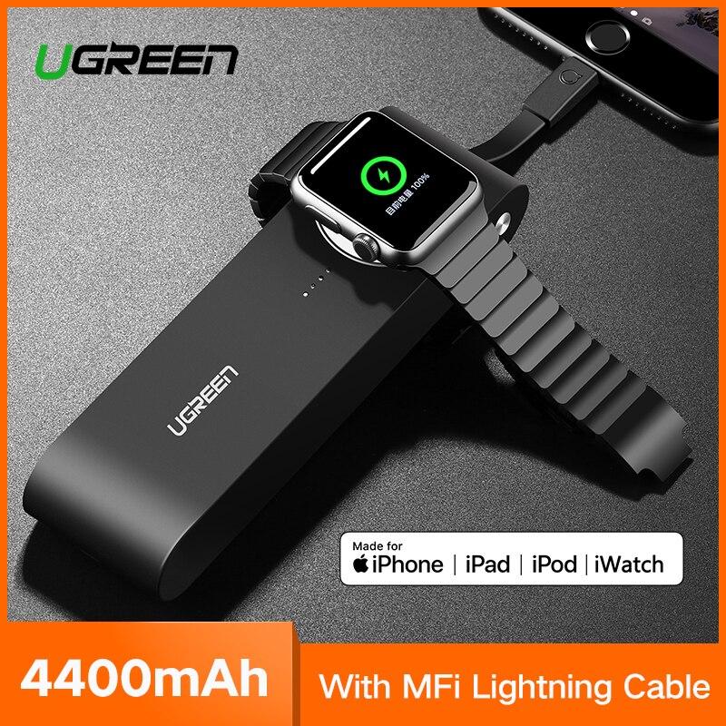 Ugreen cargador inalámbrico banco de energía 4400 mAh para el reloj de Apple 4/3/2 iPhone X 8 Batería Externa cargador para teléfonos móviles Poverbank