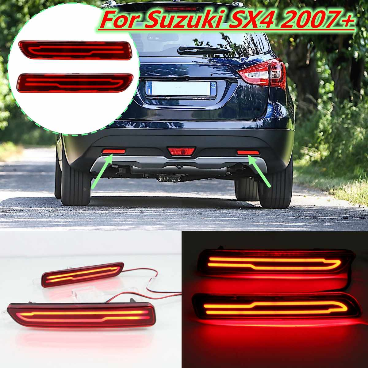 2x LED Rear Bumper Reflector Fog Light for <font><b>Suzuki</b></font> <font><b>SX4</b></font> 2007 2008 2009 2010 2011 - <font><b>2018</b></font> Car Tail Brake Drive Lamp 2 Function image