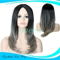 Silk Straight Ombre Dark Grey Synthetic Lace Front Wig Glueless Two Tone Natural Black/Grey Heat Resistant Hair Wigs For Women