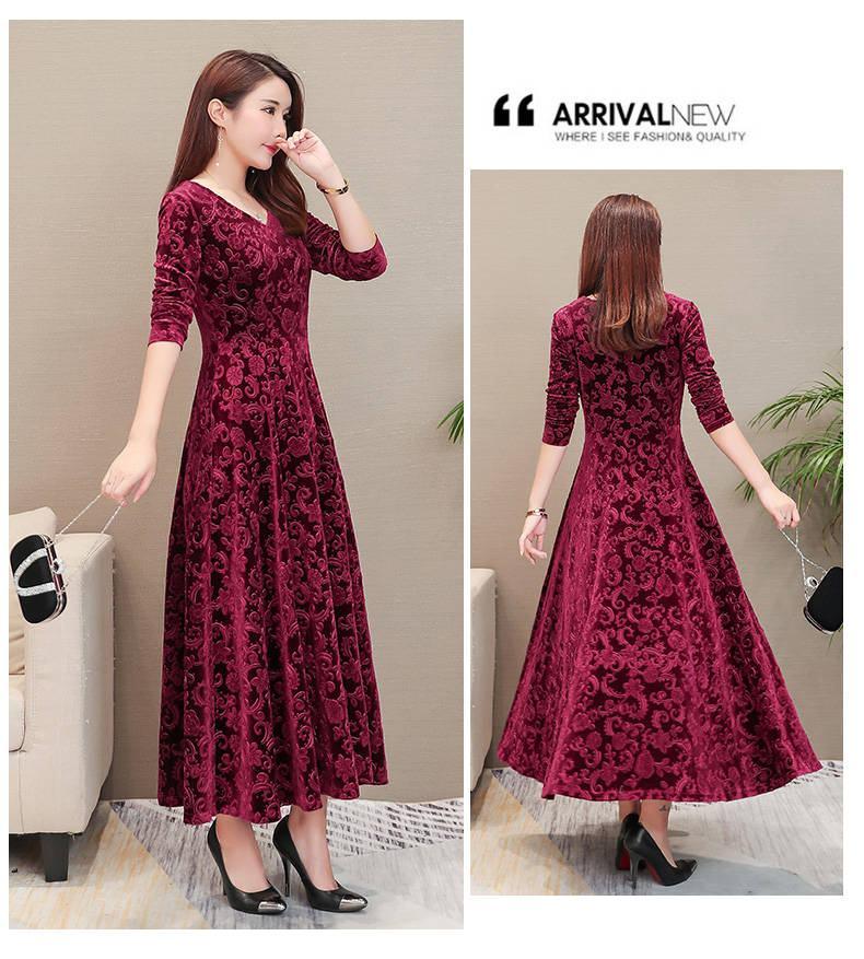 19 Women Autumn Winter High Quality Casual Vintage Velvet Bodycon Long Dresses Femme Elegant V-Neck Slim Party Robe Dress W40 3