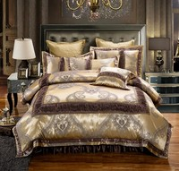 4/6 Pieces Luxury Cotton Bed spread set Golden Brown Satin Bedding set Cotton King Queen size Bed Duvet cover set Pillowcases