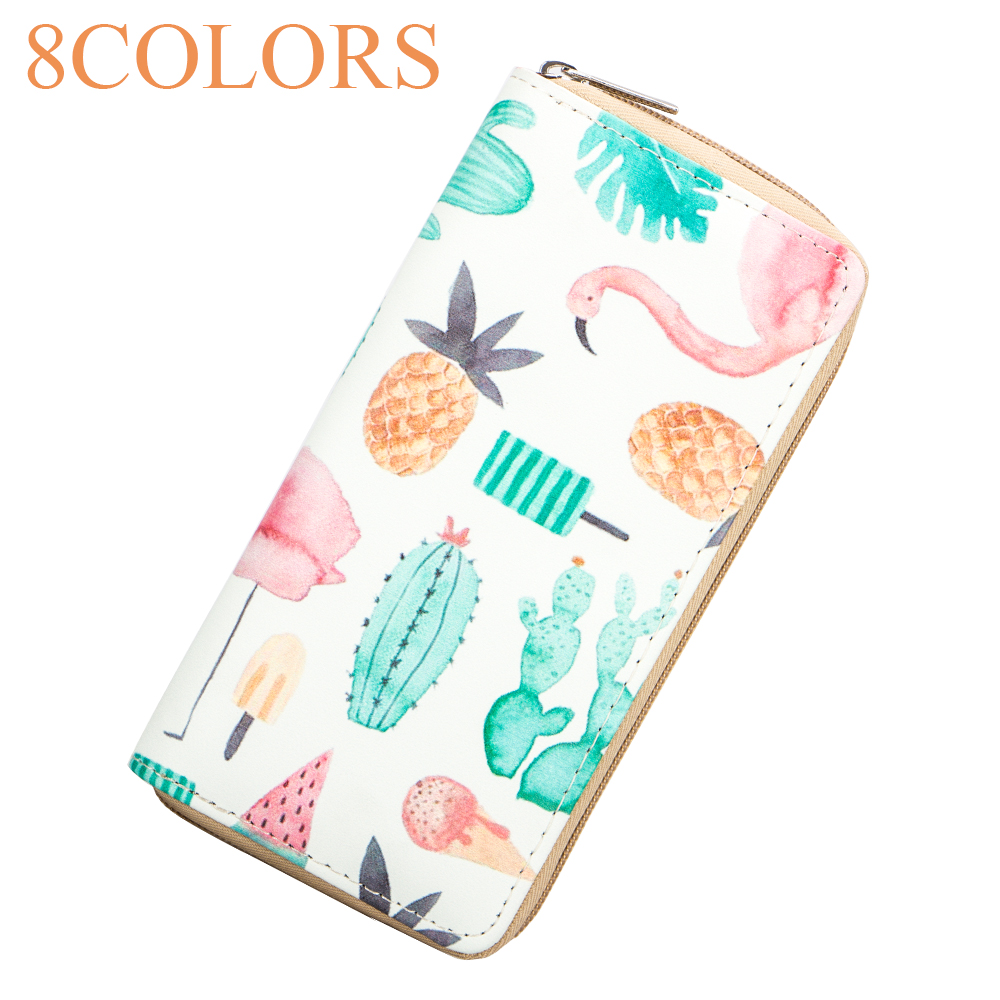 Sansarya 2018 New Fashion 8 Colors Animals Cute Flamingo Printed PU Women Wallets Girls Female Purse Card Holder Money Bag все цены