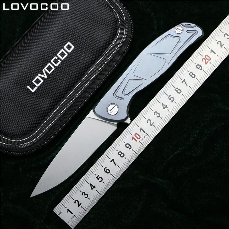LOVOCOO F95 Flipper folding knife D2 blade Titanium alloy handle camping hunting survive pocket kitchen fruit