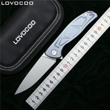 LOVOCOO F95 Flipper folding knife D2 blade Titanium alloy handle camping hunting survive pocket kitchen fruit knives EDC tools