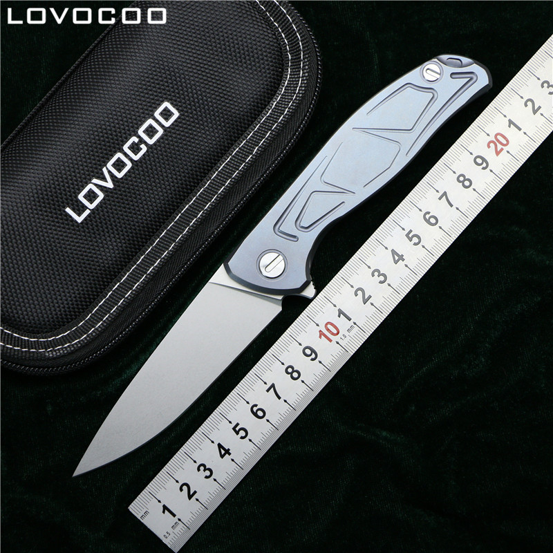 LOVOCOO F95 Flipper folding knife D2 blade Titanium alloy handle camping hunting survive pocket kitchen fruit knives EDC tools bear claw f95 dt1703 flipper folding knife d2 blade titanium handle outdoor camping hunting survive pocket fruit knives edc tool
