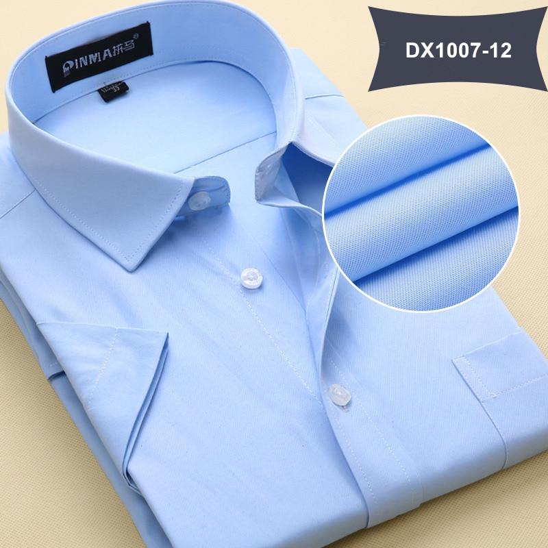 Летняя Стильная мужская одежда, мужская повседневная рубашка с коротким рукавом и отложным воротником, мужские рубашки, одноцветные рубашки для мужчин - Цвет: DX100712