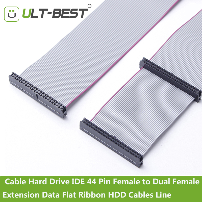 ULT-BEST Cable Hard Drive IDE 44 Pin Female to Dual Female Extension Data Flat Ribbon HDD Cables Line 21CM ult best sata 2 ii extension cable sata 7pin male to female data cables 50cm hdd hard disk drive cord line black
