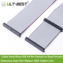 ULT BEST كابل القرص الصلب IDE 44 دبوس الإناث إلى المزدوج الإناث تمديد البيانات الشريط شقة HDD الكابلات خط 21 سنتيمتر