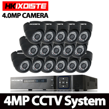 New 16ch Full hd 4mp Surveillance Kit CCTV DVR H.264 Video Recorder indoor Black Dome Security Camera System Email Alarm