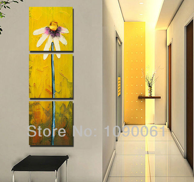 Hand Painted Daisy Flower 3 Panel Canvas Art Modern Abstract Oil ...