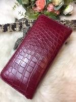 100% genuine crocodile leather long size women wallet purss, zipper closure alligator skin lady clutch wallet bank card holder