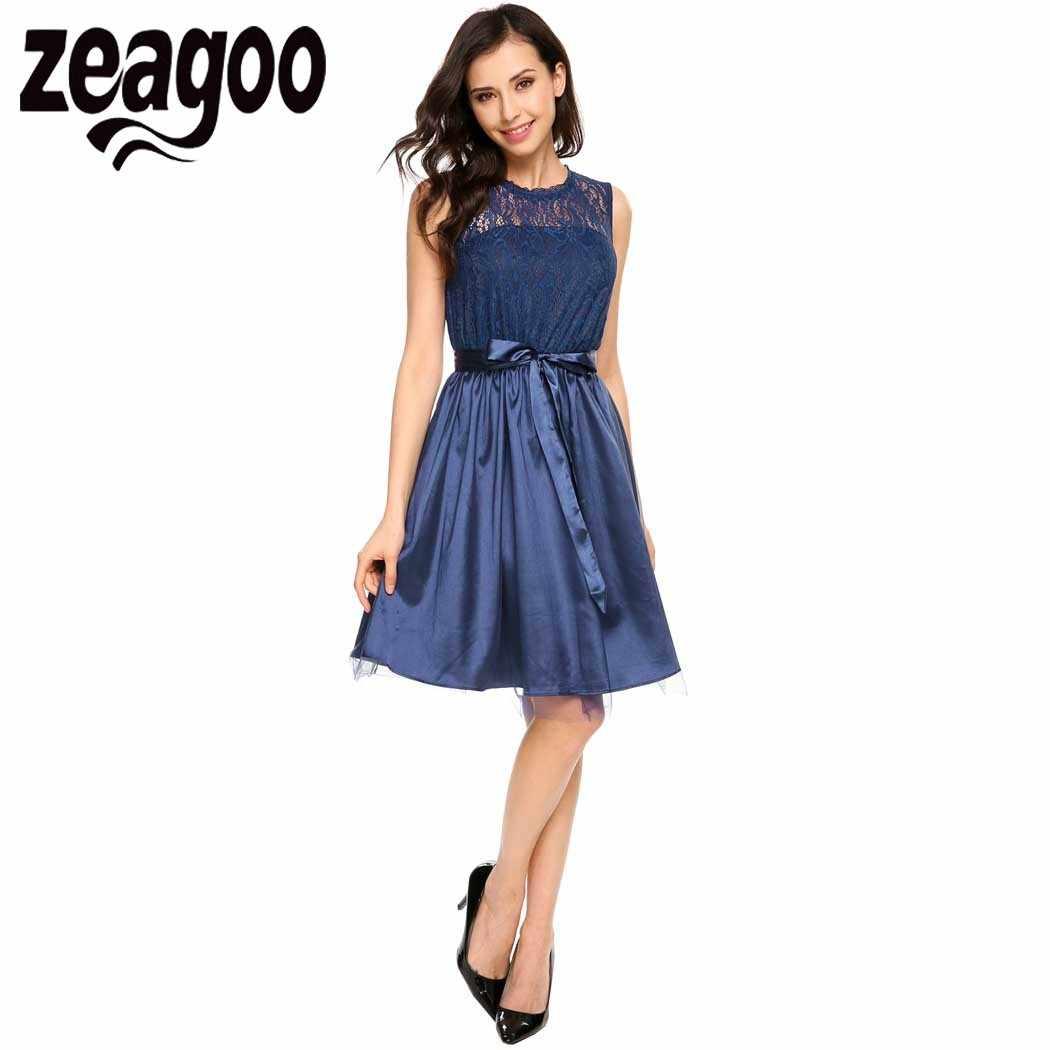 2ffba6ac374d7ba ... Zeagoo Для женщин Повседневное o-образным вырезом без рукавов кружева  сетки лоскутное тонкий одноцветное платье ...