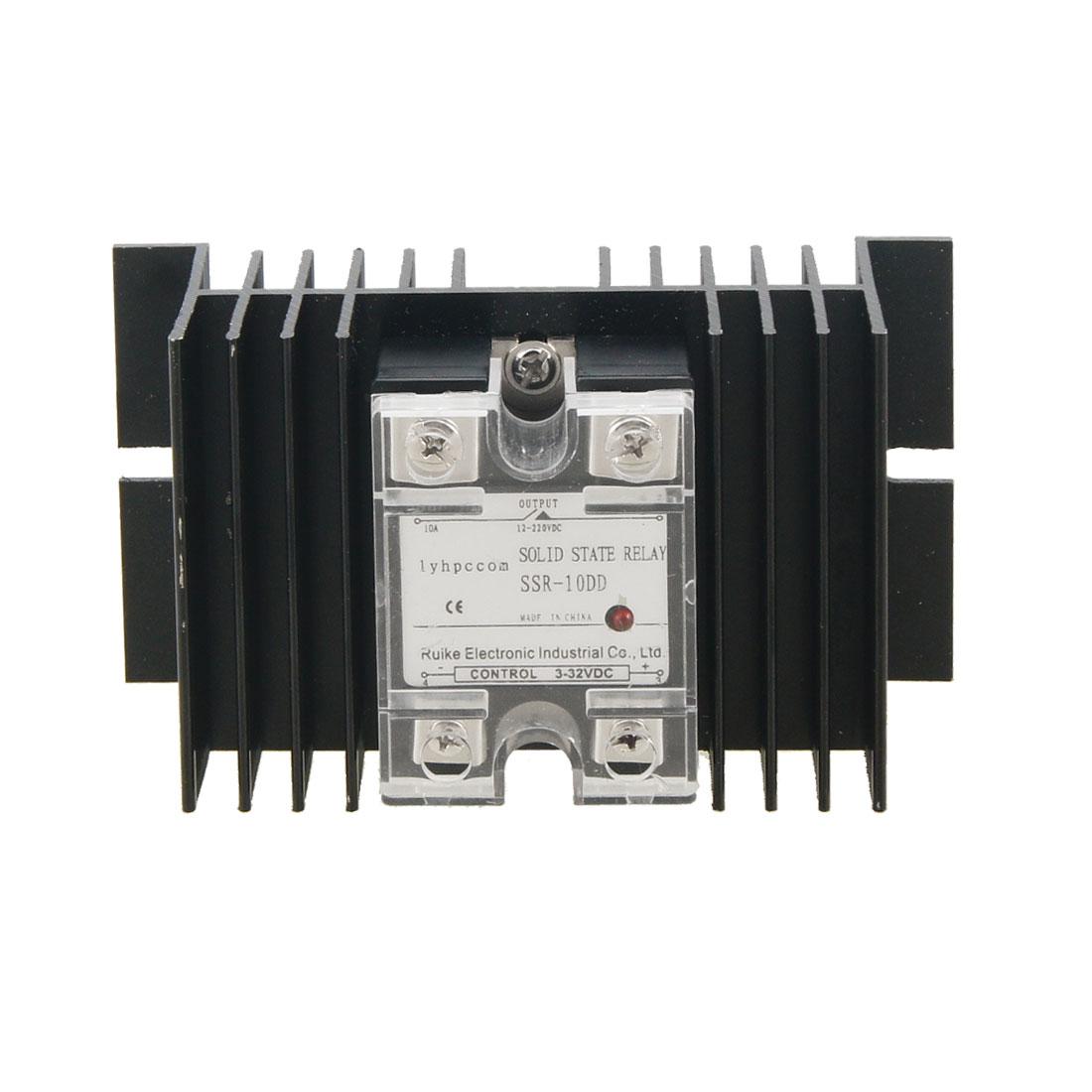 10A Single Phase Solid State Relay Ssr Dc3-32V / Dc12-220V + Black Heat Sink