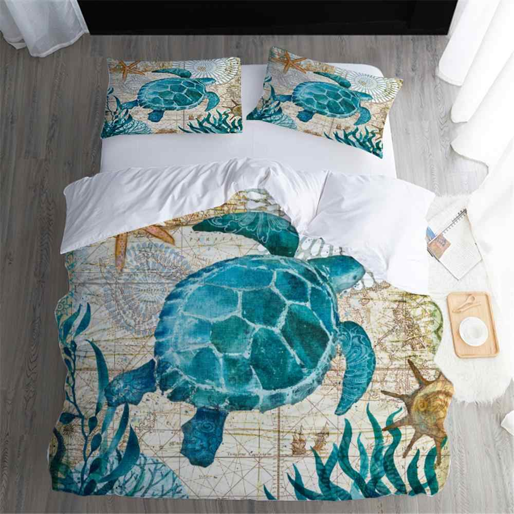 3D Digital Printing Sea Turtle Bedding Set King Queen Duvet Cover Set Quilt Bedclothes  1x Dovet Cover 2x Pillowcase