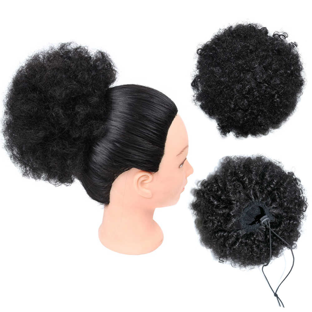 Afro Kinky Curly Ponytail For Women Natural Black Remy Hair 1 Piece Clip In Ponytails Drawstring Human Hair Extension
