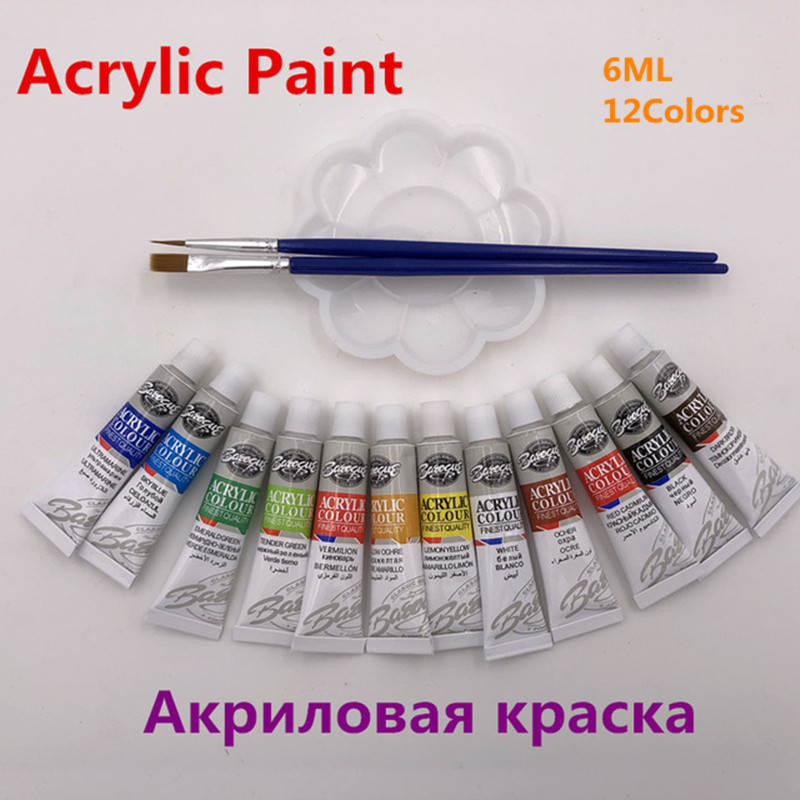 цена на Profession Acrylic Paints Tube Set Nail Art Painting Drawing Tool For The Artists 12 Colors Offer Paint Brushes And Palette