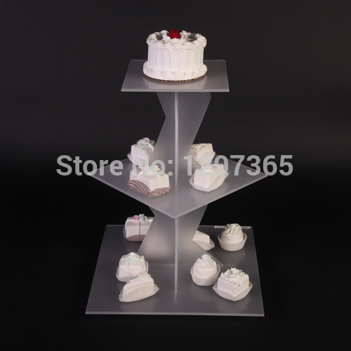 US $48.0 |CHEAP 3 TIER SQUARE SCRUB Acrylic Wedding Cupcake Stand ACRYLIC BIRTHDAY CAKE STAND PSATRY RACK-in Cake Decorating Supplies from Home & ...