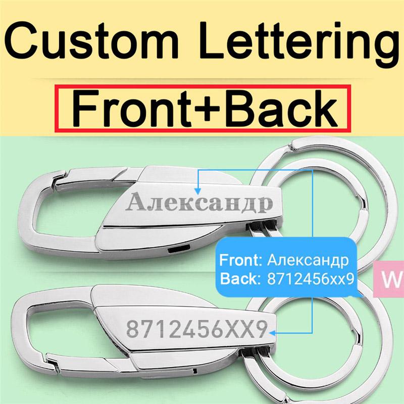 HTB1KIKXKkCWBuNjy0Faq6xUlXXaf - Custom Lettering Keychains Stainless steel Keyrings Metal Engrave Name Customized Logo Key Chain For Car Women Men gift K372