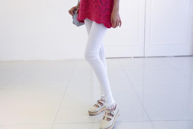 Venda quente Da Moda Rendas Legging Mulheres Algodão Puro Show Fina Nove pontos Leggings Moda Leggings qianqin