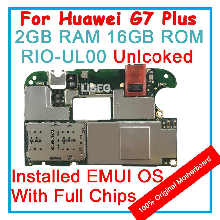 16 2GB de RAM GB ROM Para HUAWEI Honor G7 PLUS RIO-UL00 Motherboard Placa Lógica Mainboard EMUI 100% Desbloqueado Originais com Fichas Completas