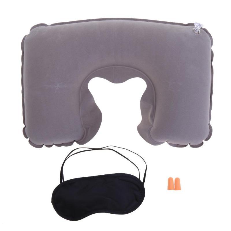 3psc/набор, новая u-образная подушка для шеи, для путешествий, автомобиля, для воздушного полета, надувные подушки, поддержка шеи, подголовник, подушка с крышкой для глаз, беруши - Цвет: Grey