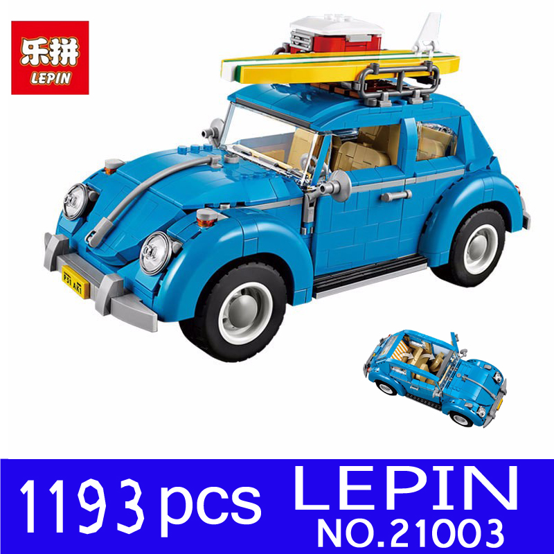 LEPIN 21003 1193Pcs Creator Technic Series Blue City Car Volkswagen Beetle Model Building Blocks Bricks Compatible 10252 Toys lepin technic city series 24 hours race car building blocks bricks model kids toys marvel compatible legoe