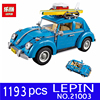 LEPIN 1193Pcs 21003 Creator Series City Car Volkswagen Beetle Model Building Blocks Compatible Lifeed Blue Technic