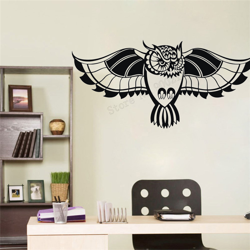 Wall Decoration Owl Birds Room Sticker Tribal Animal Poster Vinyl Art Removeable Decal Amulet Talisman Mural Beauty Decor LY341 in Wall Stickers from Home Garden