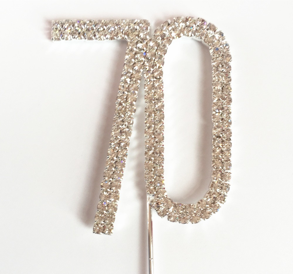 Rhinestone Number 70 Happy 70th Birthday Party Decoration Kits 5 Cm Diamond Anniversary Cake Cupcake Top Topper In Cake Decorating Supplies From Home