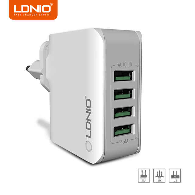 Hot LDNIO A4403 5V 4.4A 4-Port Universal USB Wall Charger Adapter for Smart Mobile Phone Charger for iPhone X Huawei