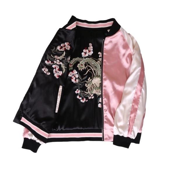 Autumn Women Casual Bomber Flower Embroidery   Jacket   O-Neck Both Sides Harajuku Pilot   Basic     Jackets   Coat