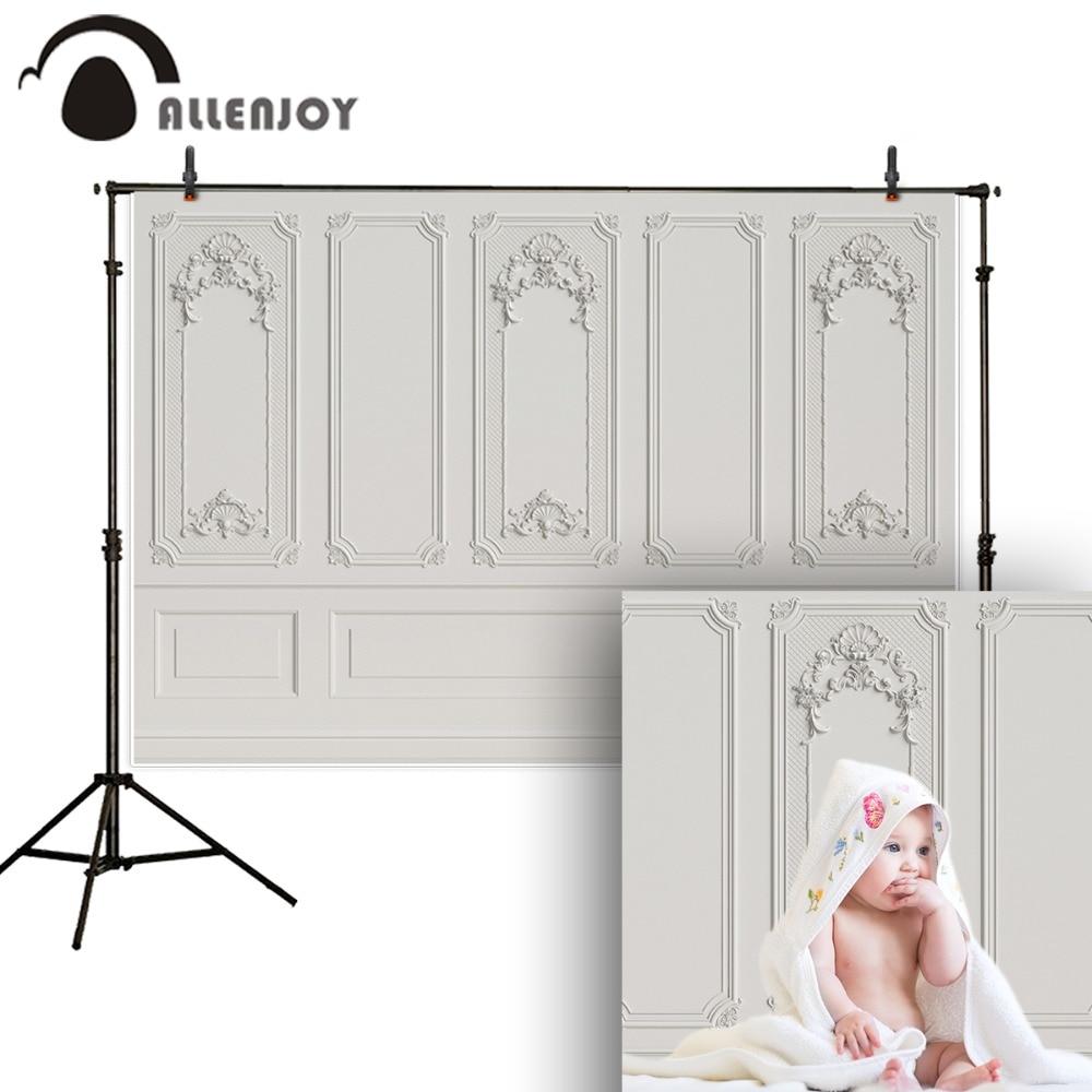 Allenjoy photography backdrop plain Grayish white wood wall floral frame newborn baby background photocall photophone photobooth(China)