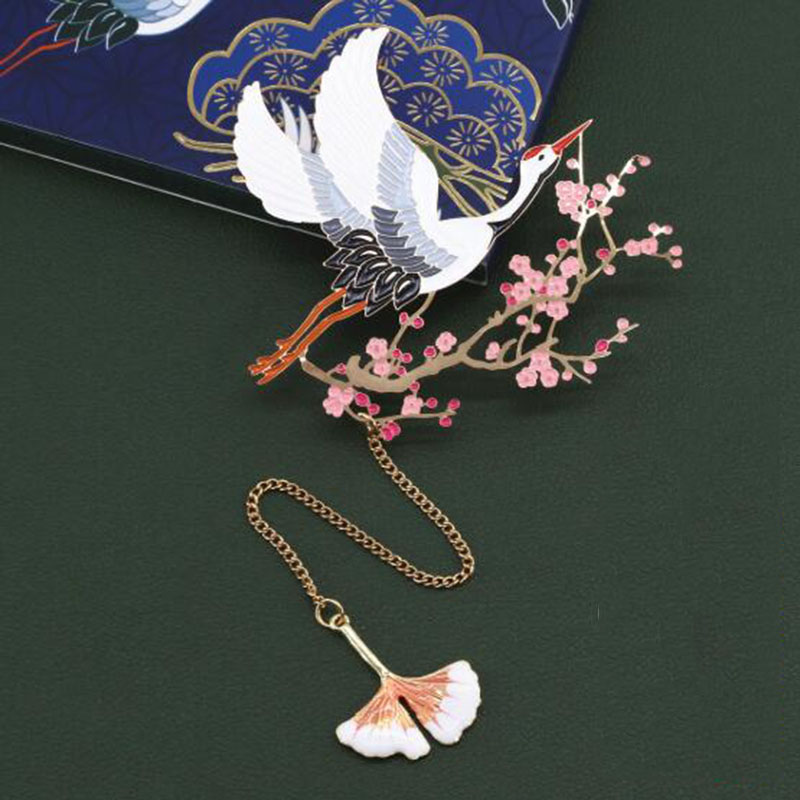 Red Crane And Flower Metal Art Classical Chinese Style Gift Bookmark Aesthetics Creative Gift Bookmarks Gift Box Packaging