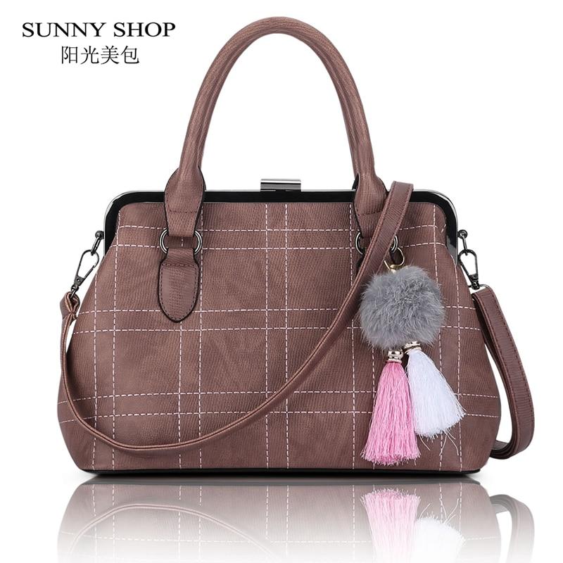 ФОТО SUNNY SHOP American Fashion women-bag Designer Handbags High Quality Women Leather Handbags Plaid women-messenger-bags tote