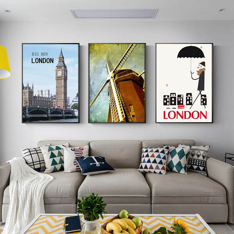 London Historical Building Wall Art Picture For Room Decor Stamp Painting on Canvas Vitnage Poster Home decoration image