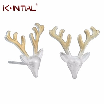 1Pcs New Fashion 925 Silver Rudolph Deer Animal Studs Earrings Anlter Earring for Women Piercing Statement Fashion Jewelry