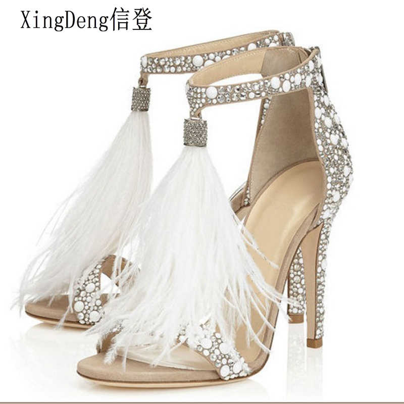 XingDeng Ladies Wedding Party High Heels Rhinestone Ankle Strap Sexy Sandal Women Summer Tassels Zip Bridal Sandals Shoes